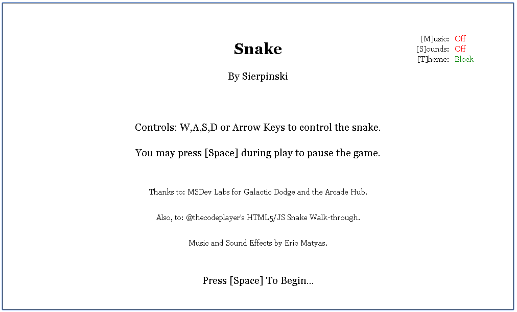 Screenshot of Snake welcome screen.
